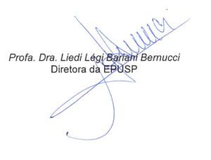 Assinatura da Diretora da Escola Politécnica